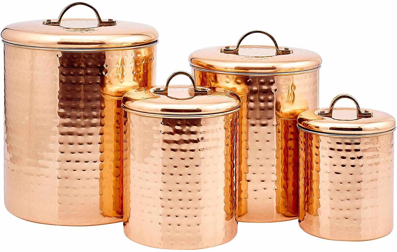 Old Dutch International 4-Piece Hammered Copper Canister Set