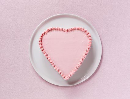 Pink heart shaped cake,aerial view