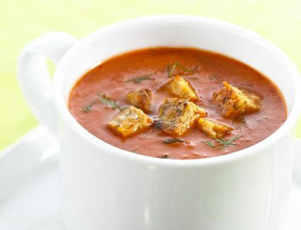 Tomato carrot soup topped off with tempeh