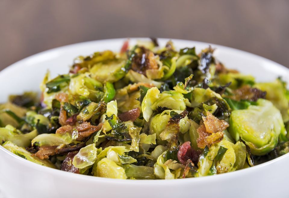 Roasted shaved brussels sprouts with bacon