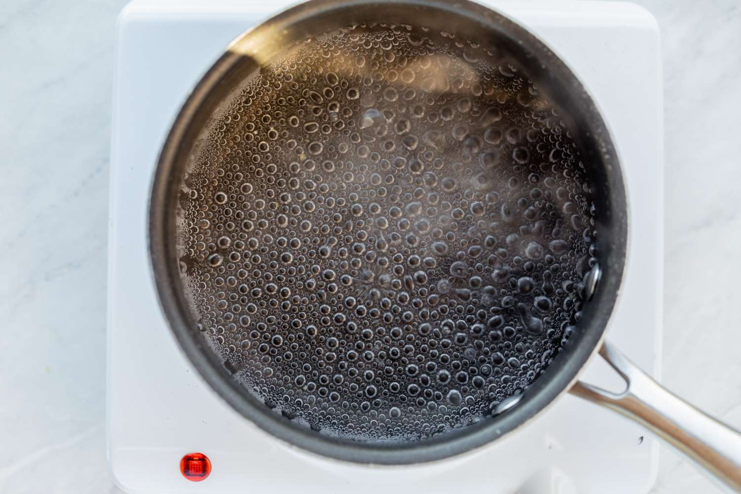 boiling water in a pot