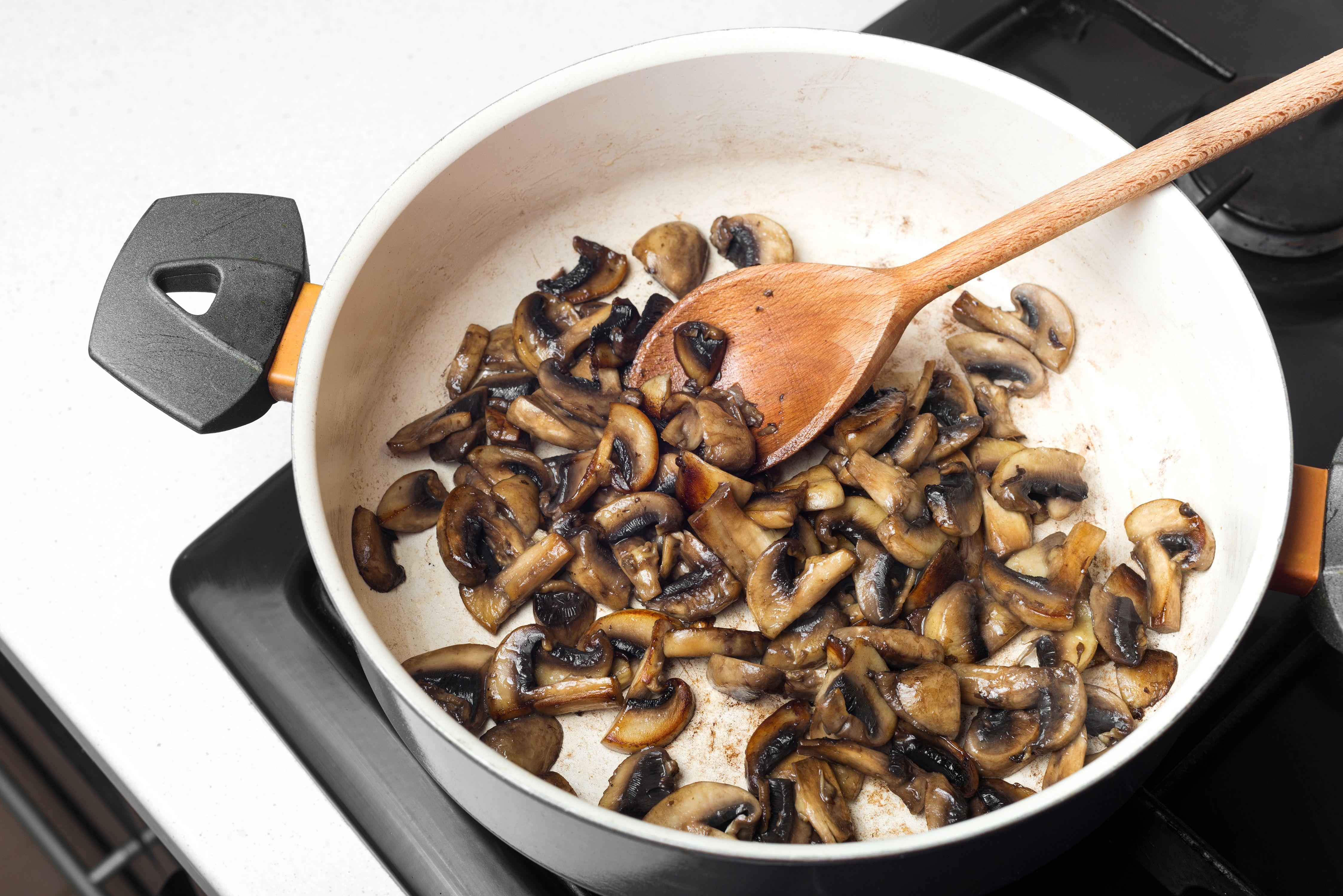 Cook mushrooms until golden brown