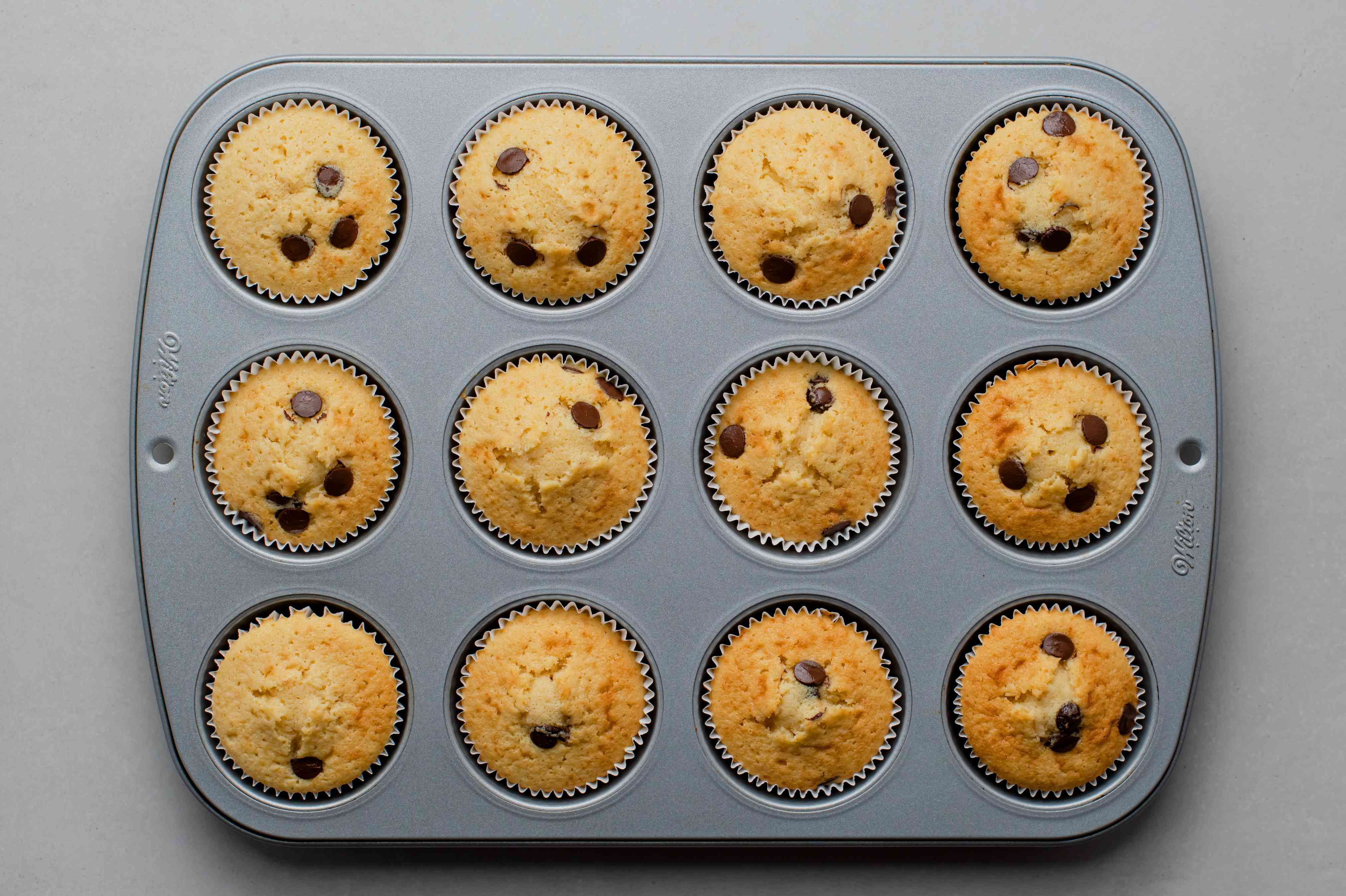 Vanilla and Chocolate Chip Cupcakes in cupcake tins