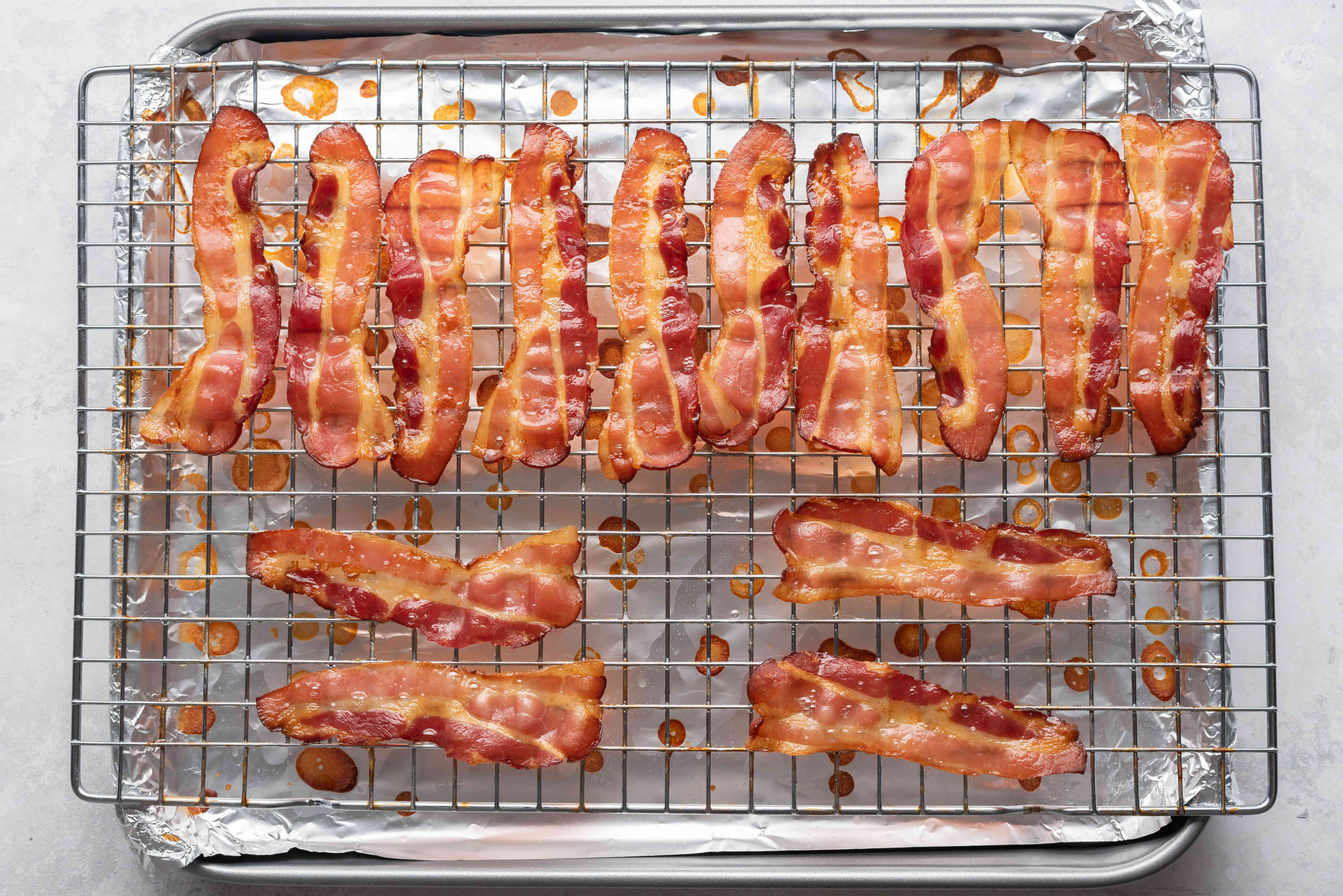 Easy Oven Cooked Bacon on the rack