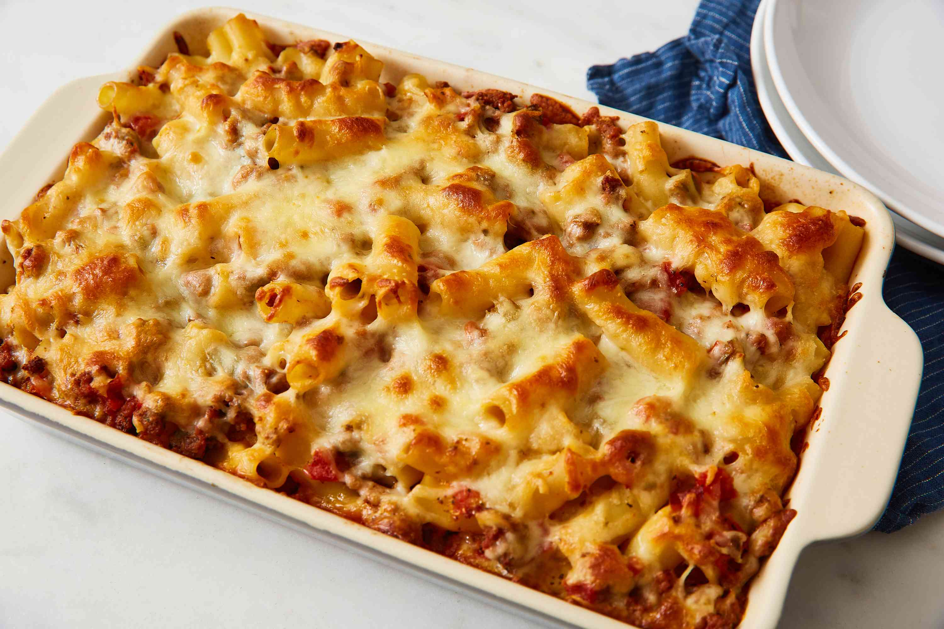 Easy Baked Ziti With Ground Beef and Cheese recipe