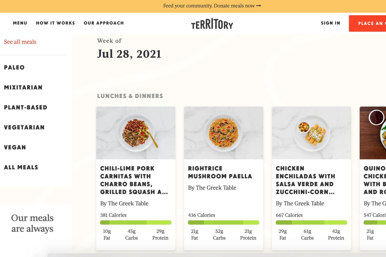 Territory Foods website