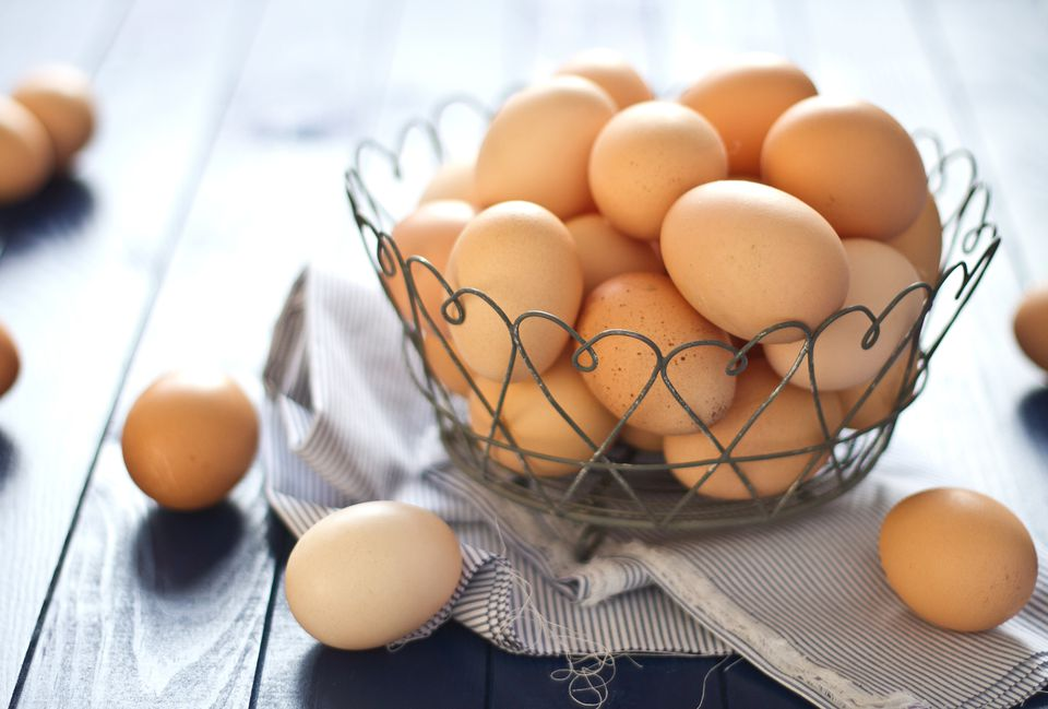 Cage-free eggs in a wire basket