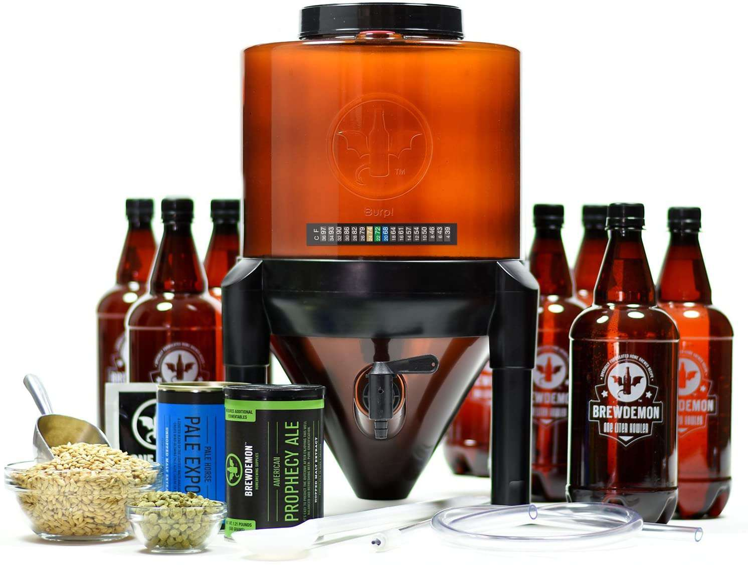 BrewDemon 2-Gallon Conical Fermenter System Brewing Kit, Prophecy Ale