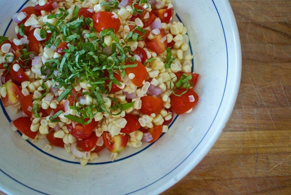 Tomato, Corn, and Basil Salad