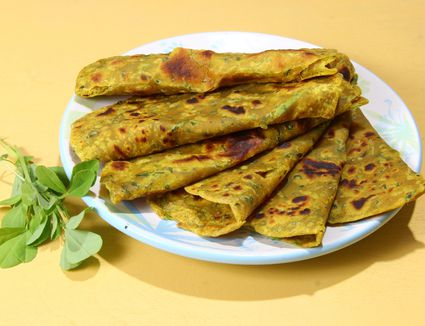 A plate of methi parathas