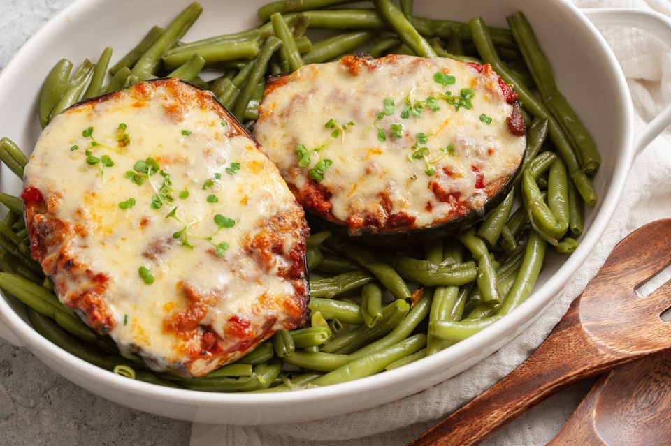 Stuffed Eggplant Parmesan With Ground Beef