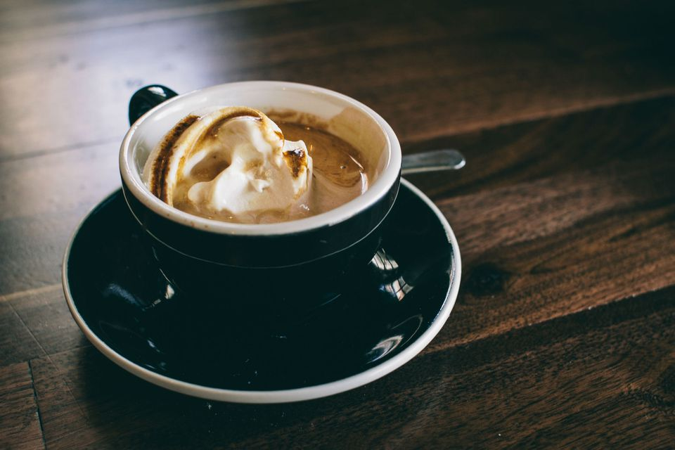 Close-up of Coffee With Ice Cream in Cup