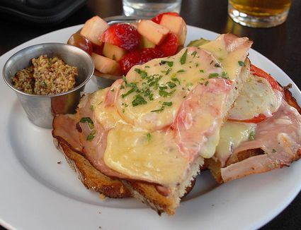 Croque Monsieur Open Faced Melted Cheese Sandwich