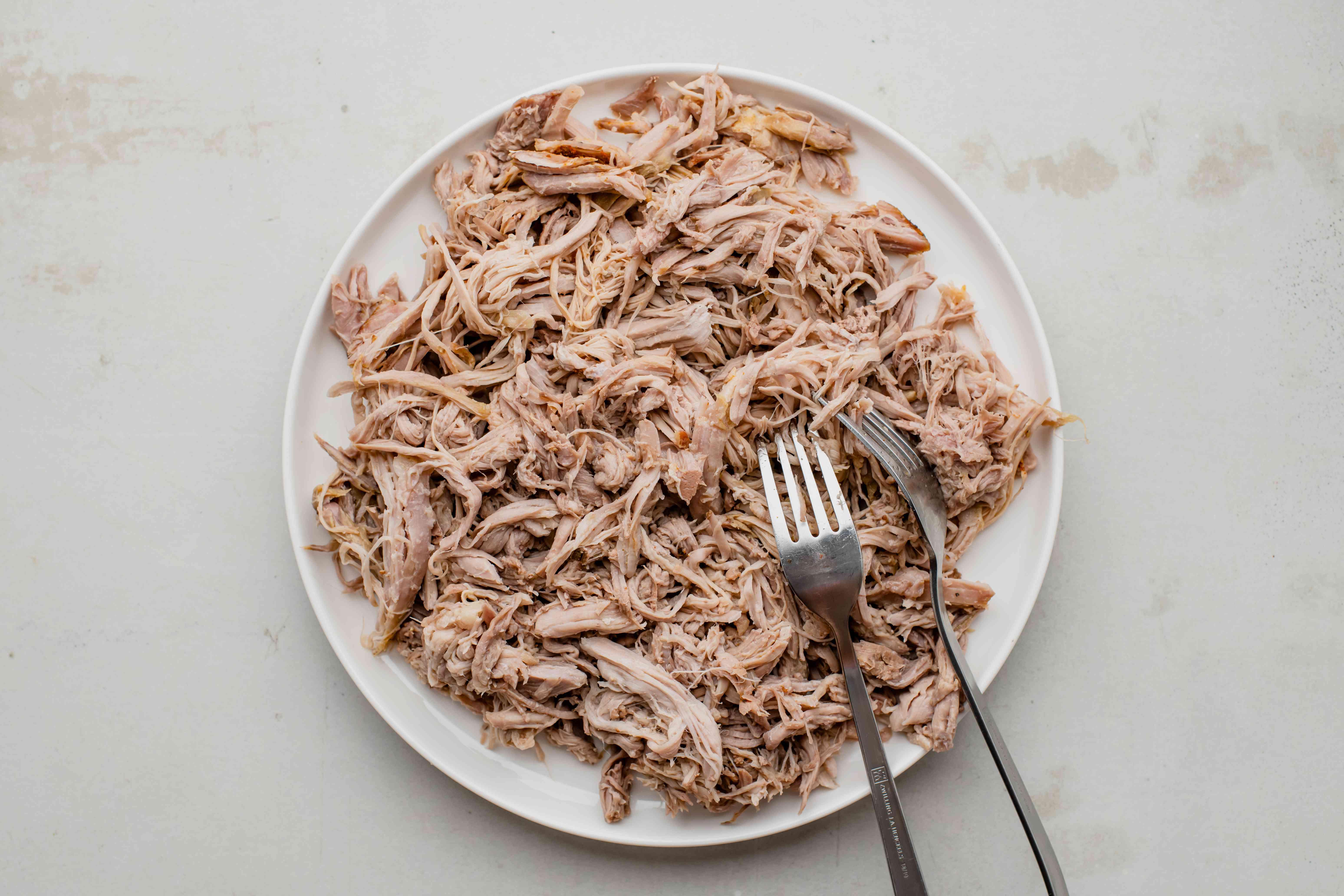Shredded pork on a plate