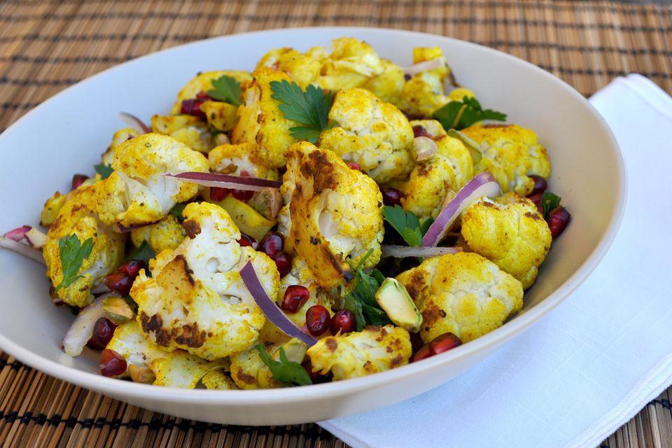 Roasted cauliflower salad with pomegranate