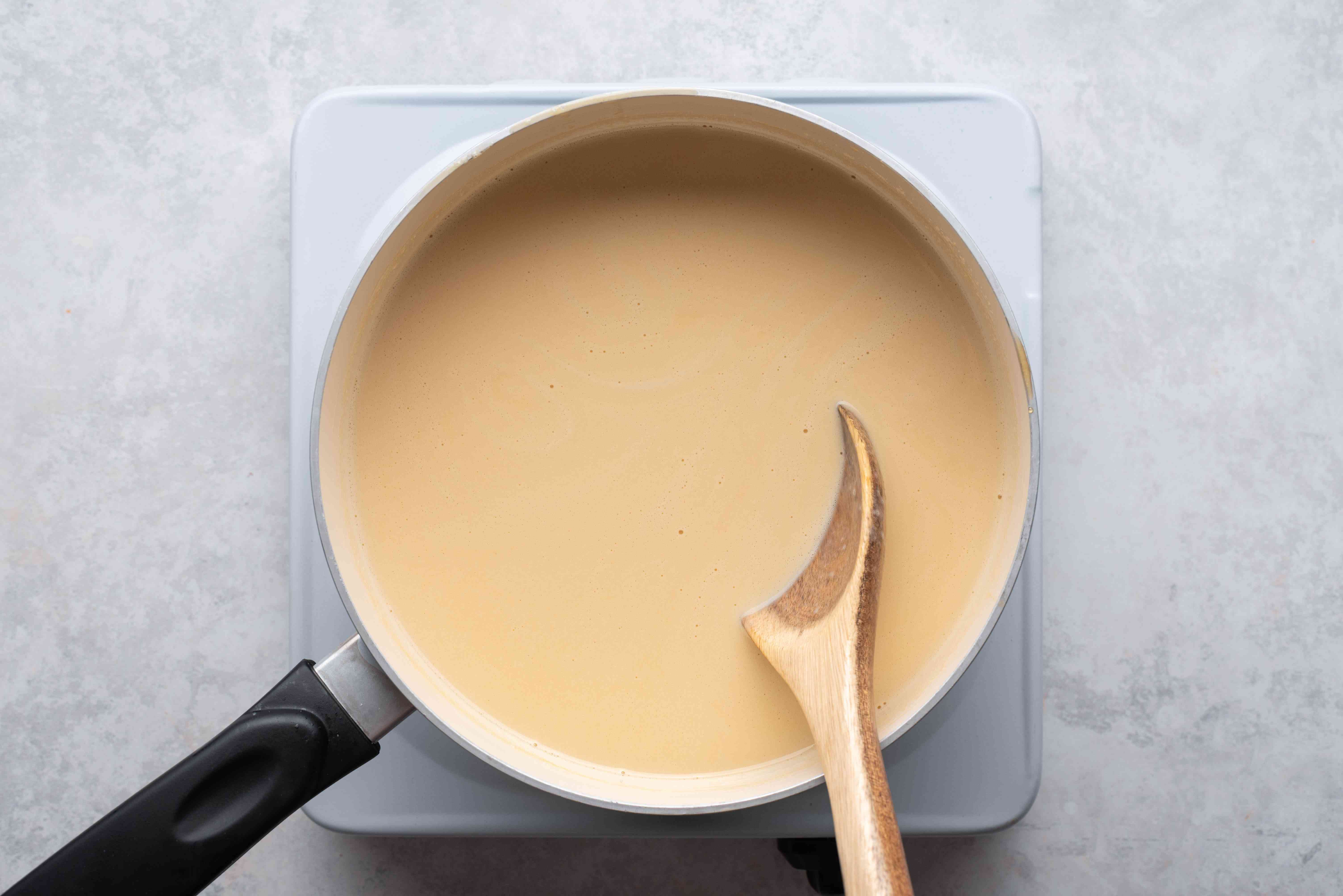 custard mixture in a saucepan