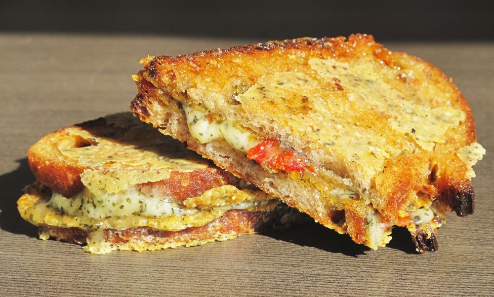 Inside out Herb Grilled Cheese with Sun-dried Tomatoes