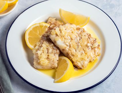Grilled butter onion cod recipe