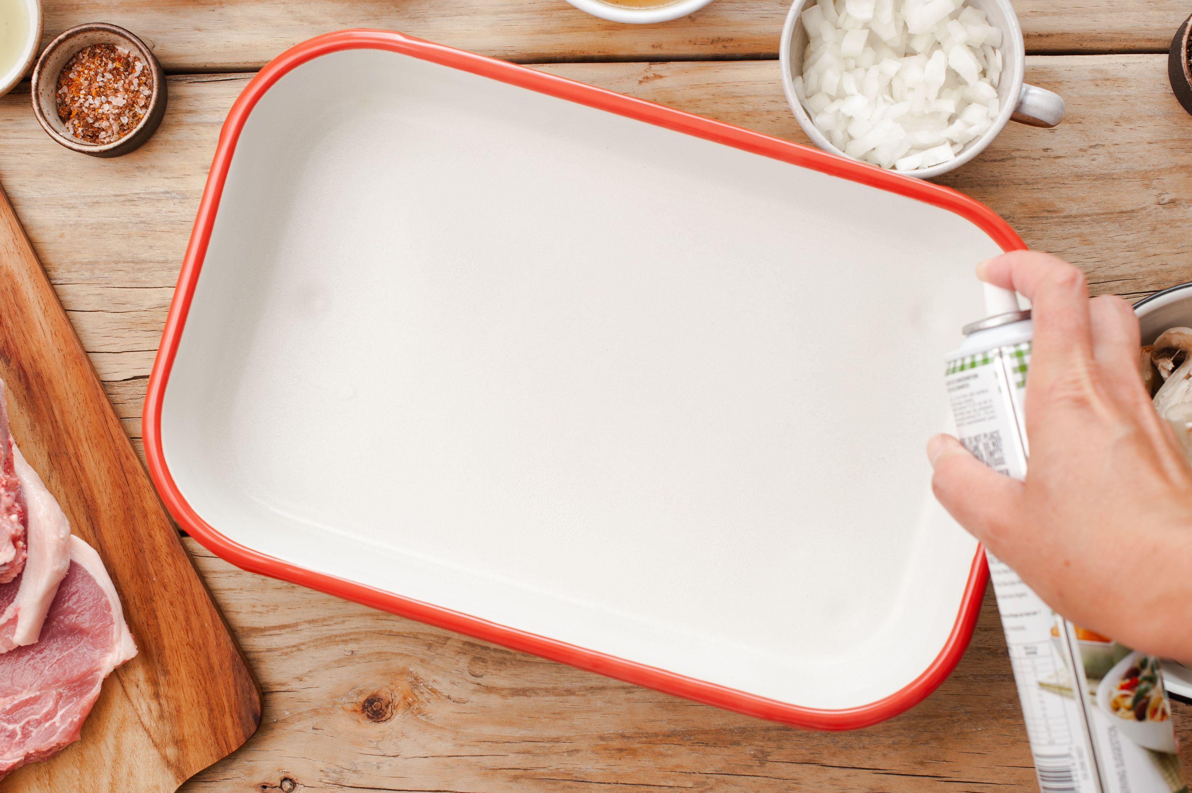 Grease a shallow baking dish
