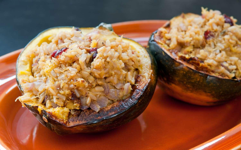 Acorn squash stuffed with rice