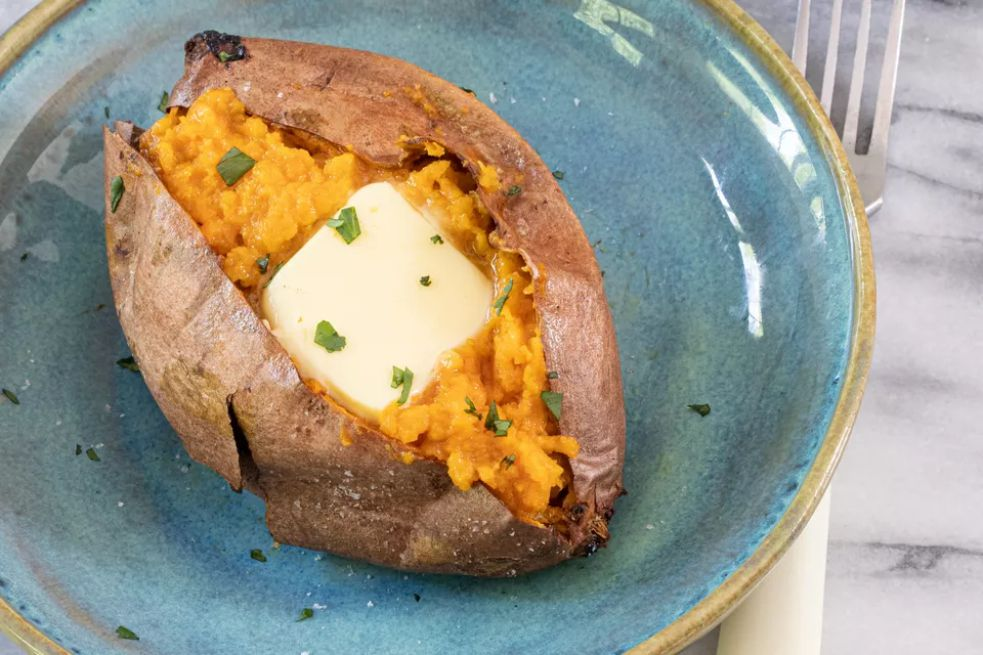 Air fryer sweet potatoes with butter