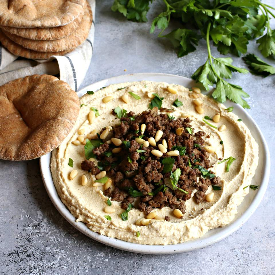 Spiced Beef on Hummus