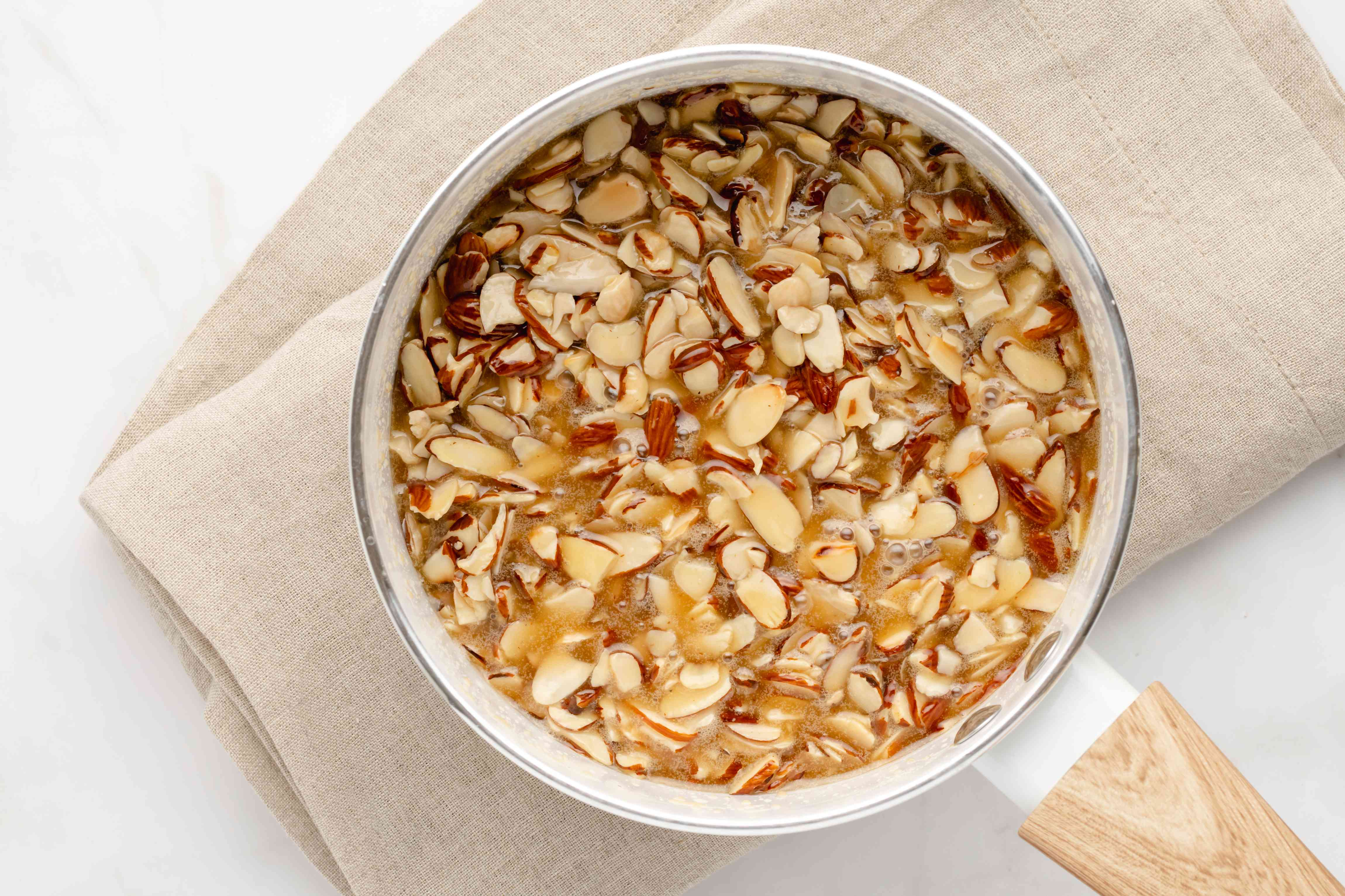 Almond topping mixture in a saucepan
