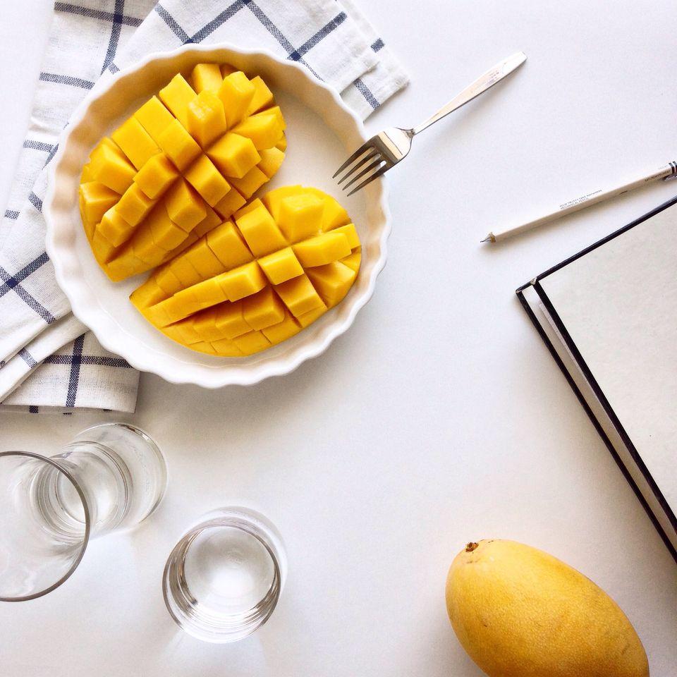 Cubed mango in a dish