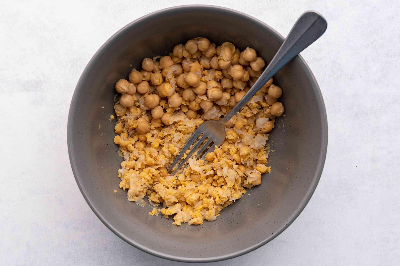 Mashing Chickpeas for Vegan