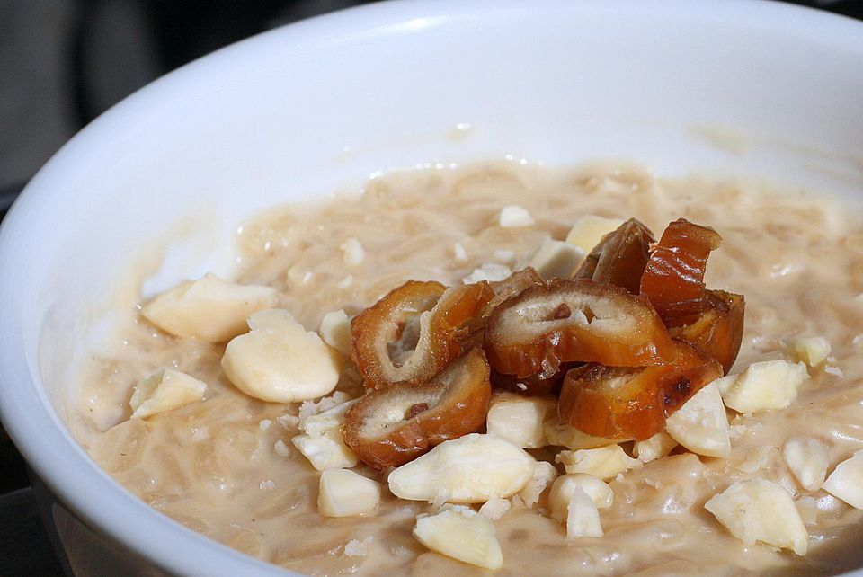 Delicious coconut rice pudding with dates.