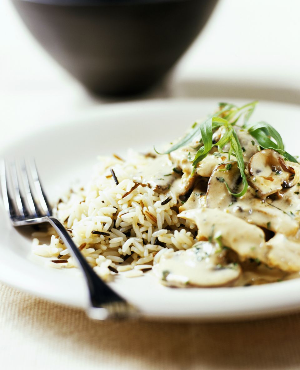 Chicken stroganoff with rice