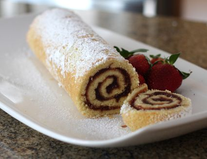 jelly roll or sponge cake roll with jelly