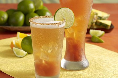 Two chelada cocktails on the rocks