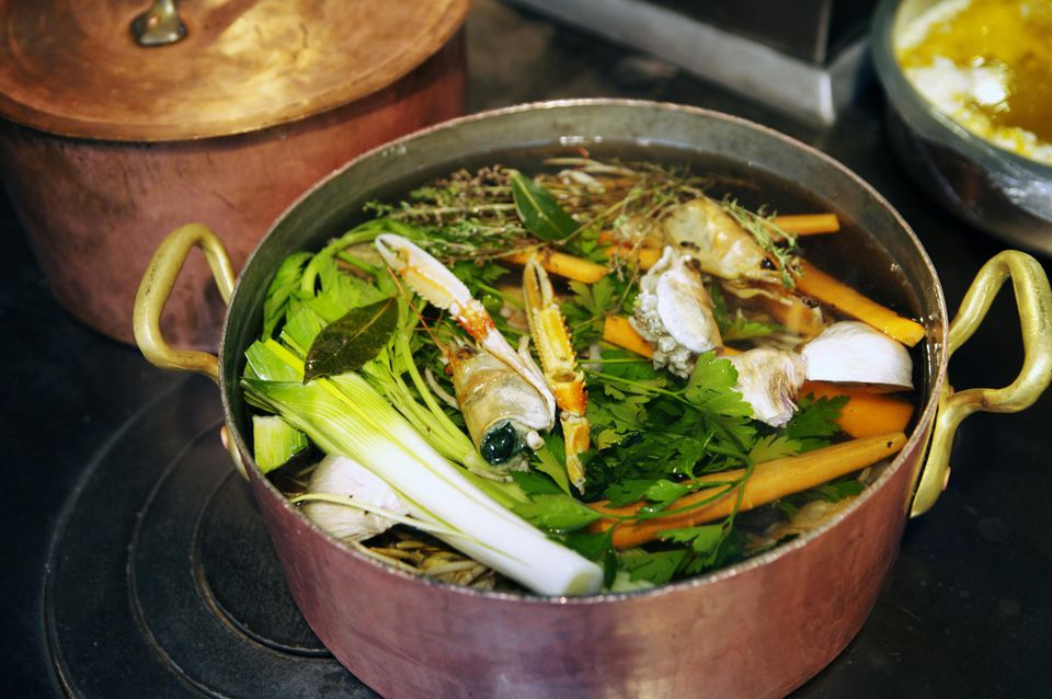 Stock pot in restaurant kitchen.