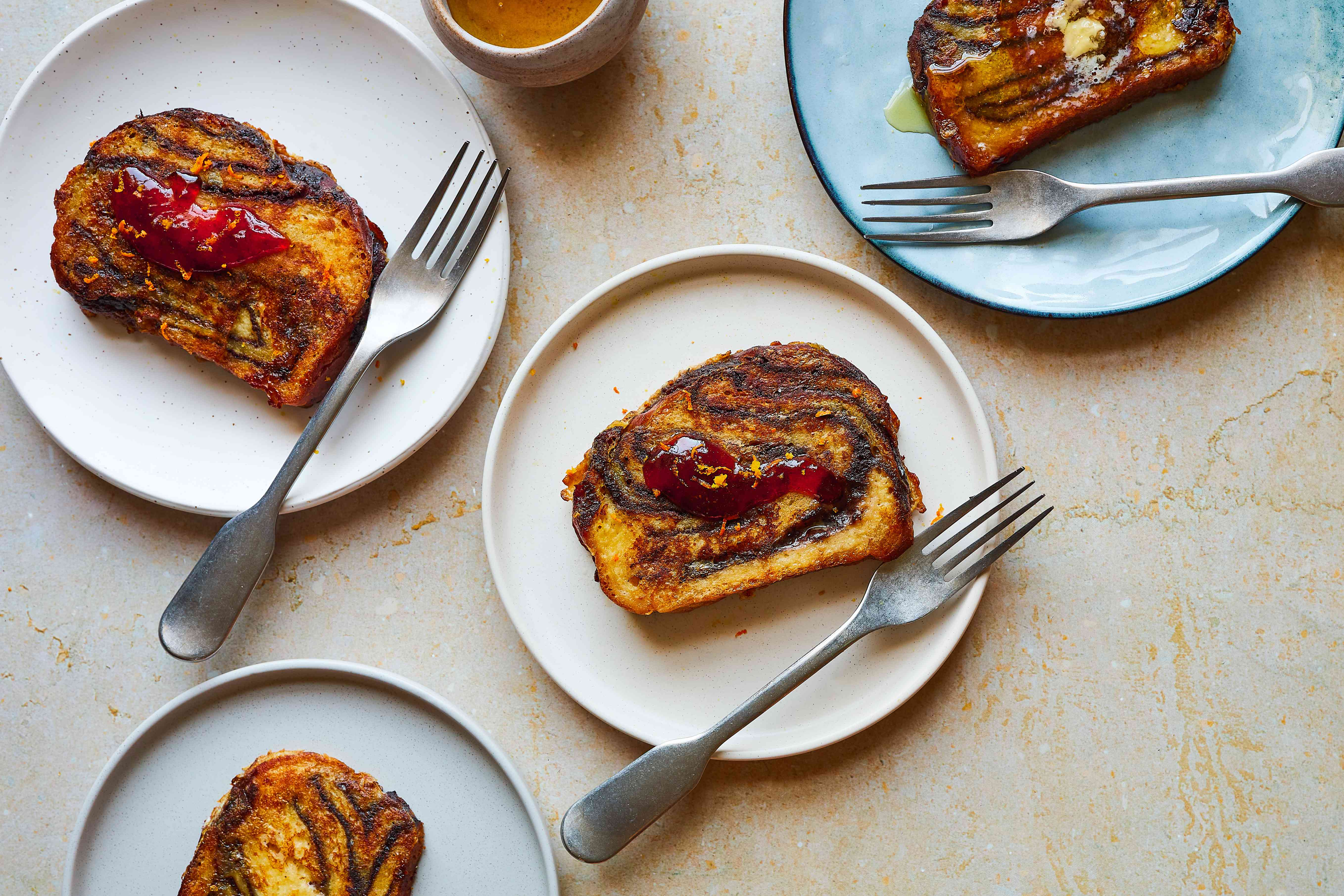 babka french toast with various toppings