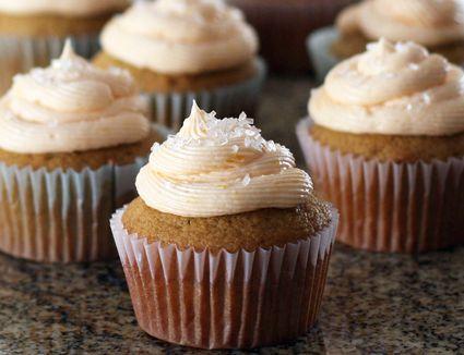 Orange frosting on butternut squash cupcakes