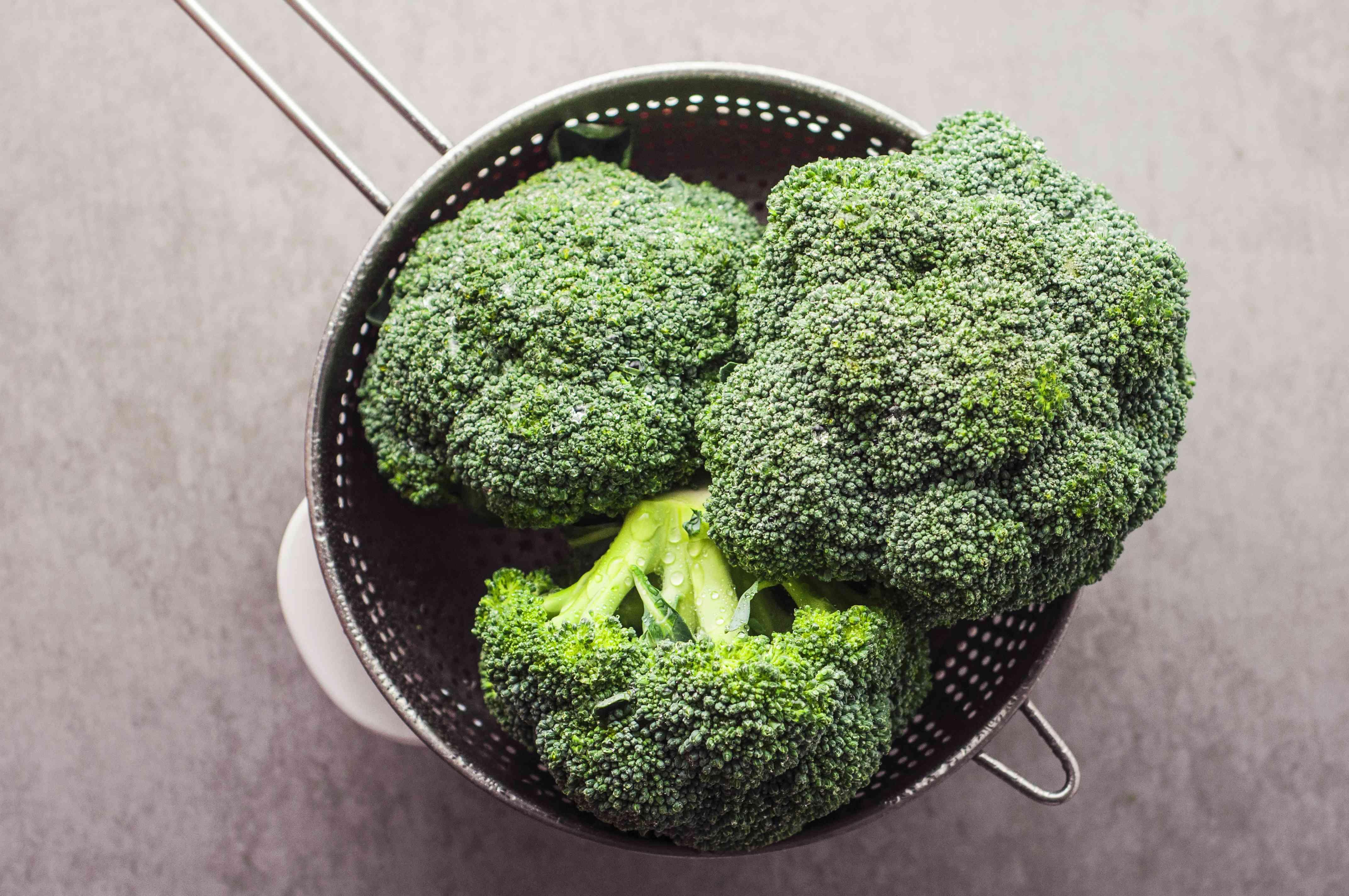 Broccoli in a colander
