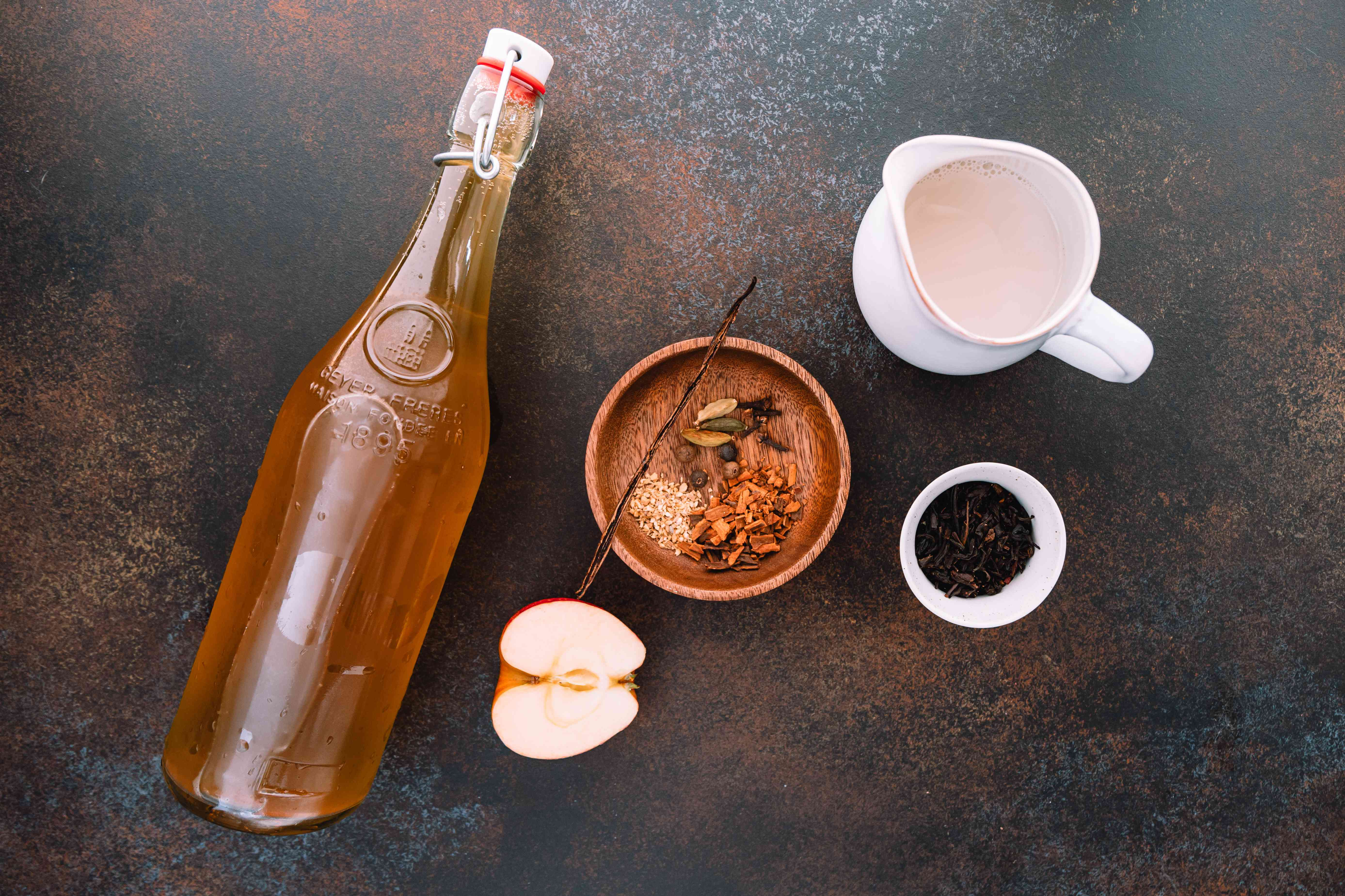 Ingredients for chai spiced apple cider recipe