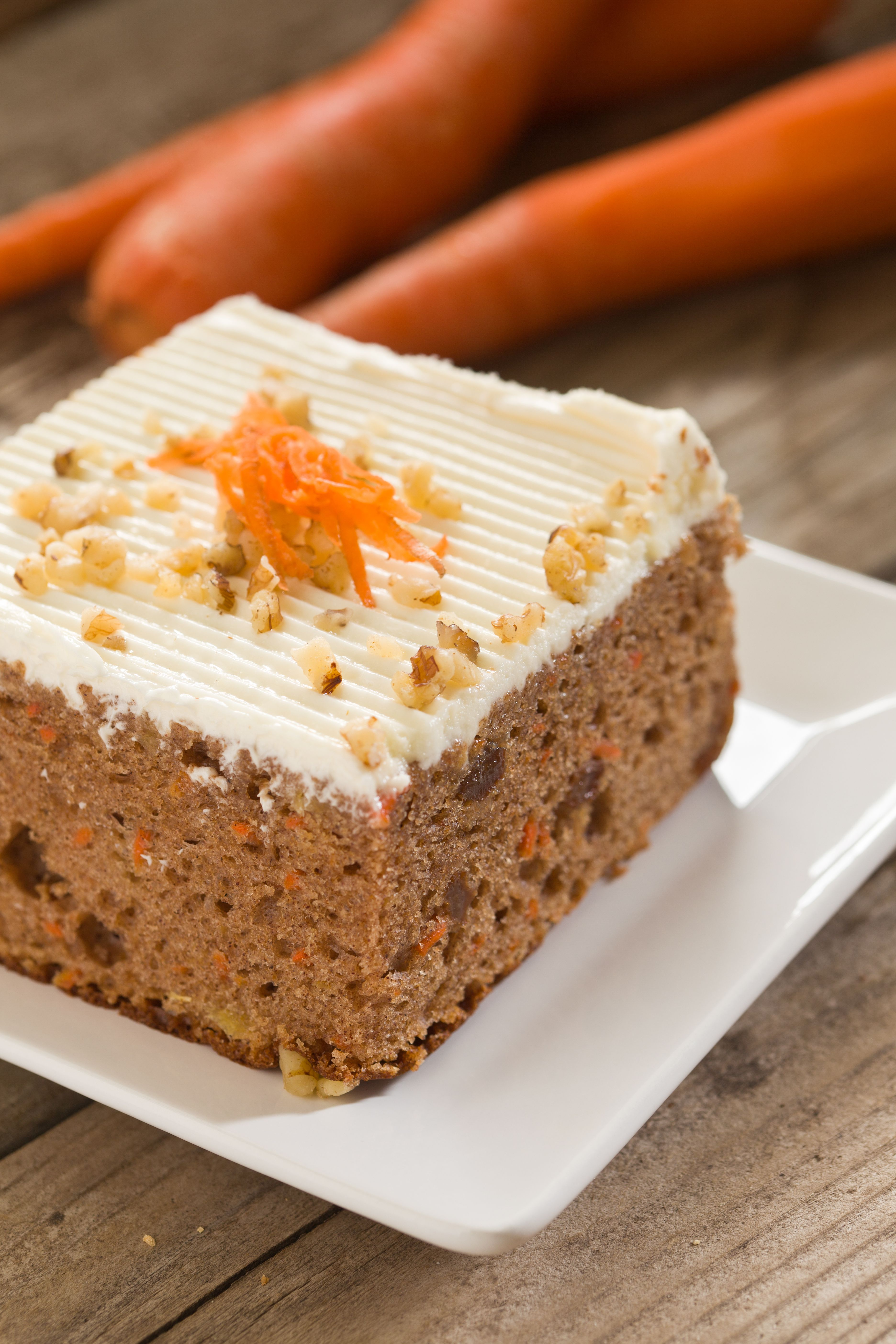 Slice Of Carrot Cake with white frosting