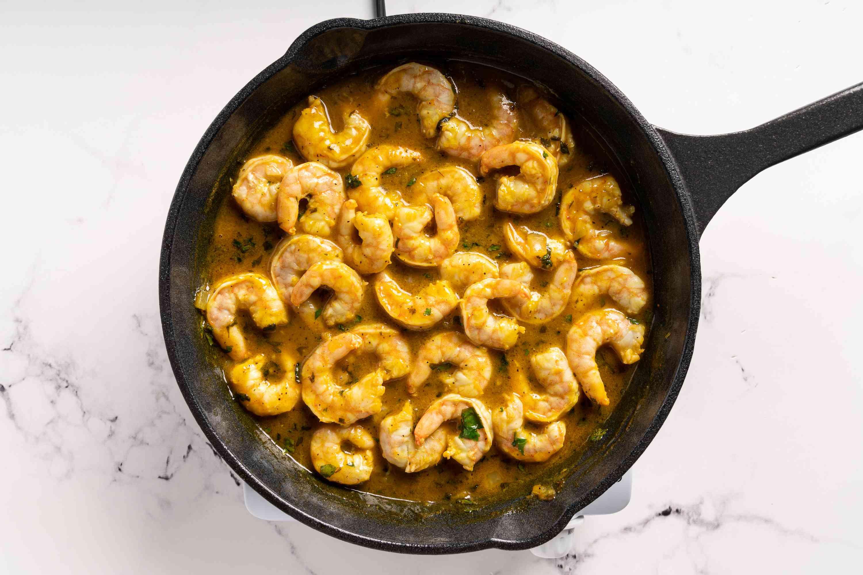 Easy Caribbean Island Lime Shrimp in a pan