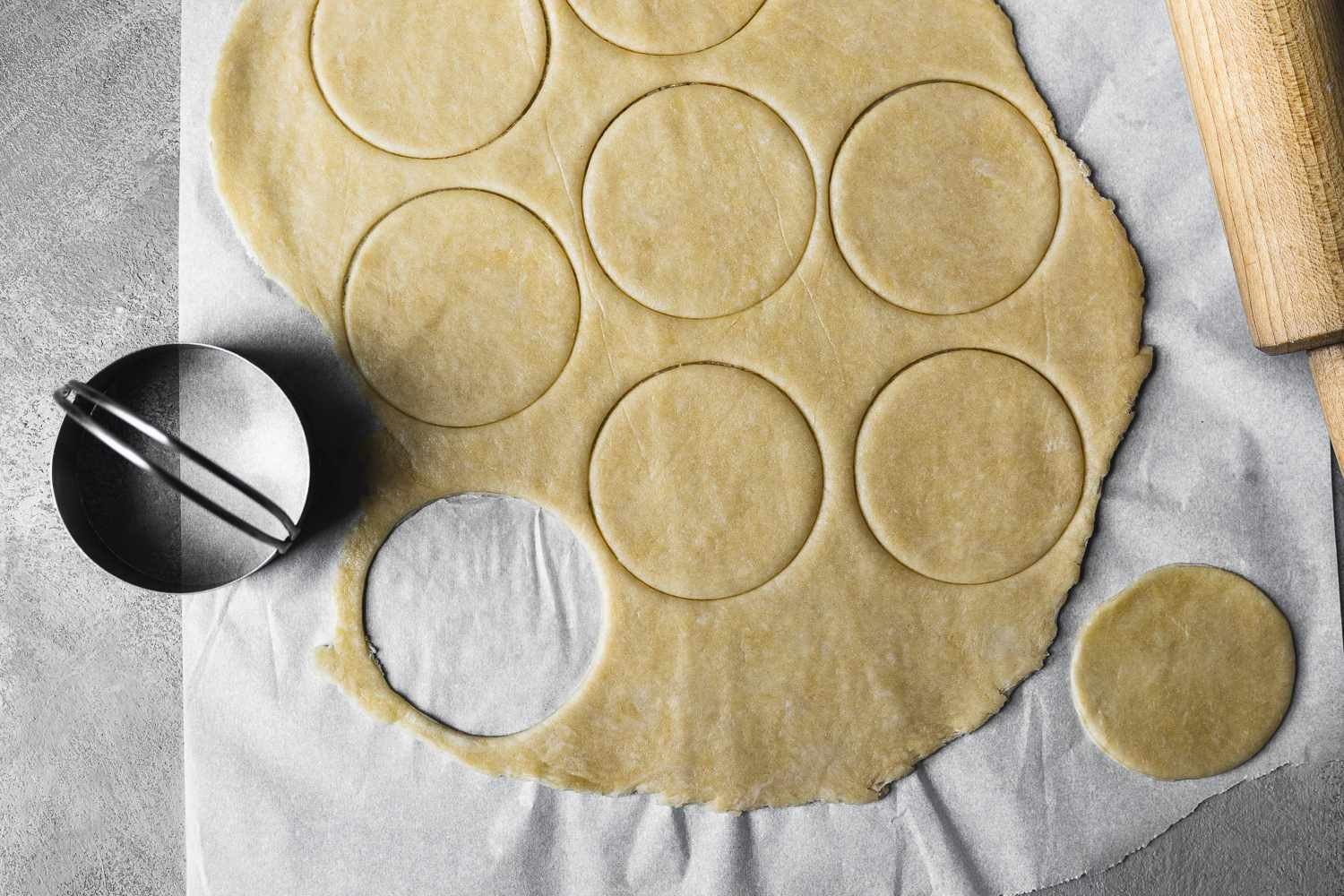 Rolled dough cut with a circle cutter