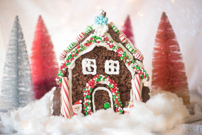 rice krispie treat gingerbread house by gogogo gourmet