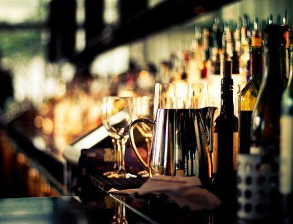 Back bar with liqueur bottles