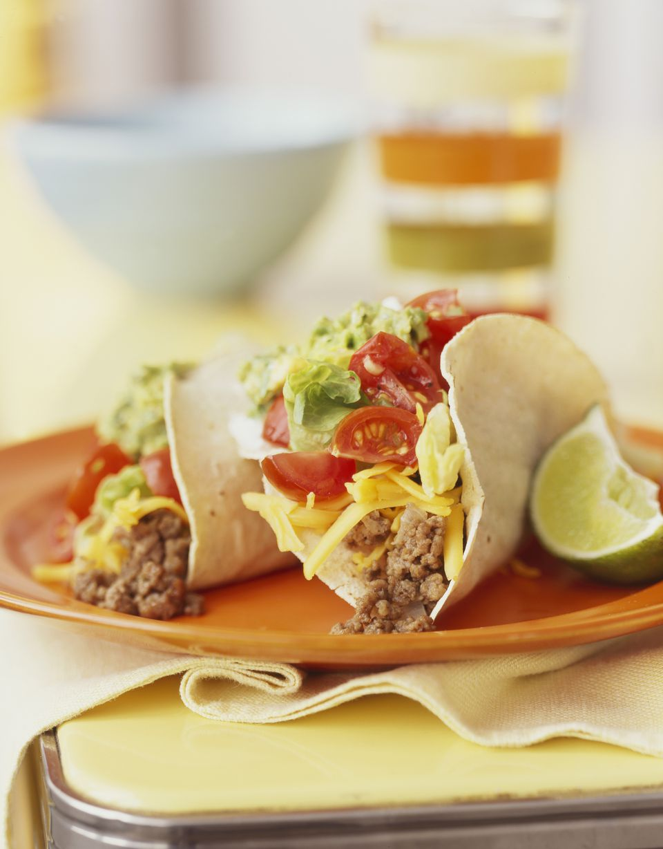 Beef soft shelled tacos, close-up
