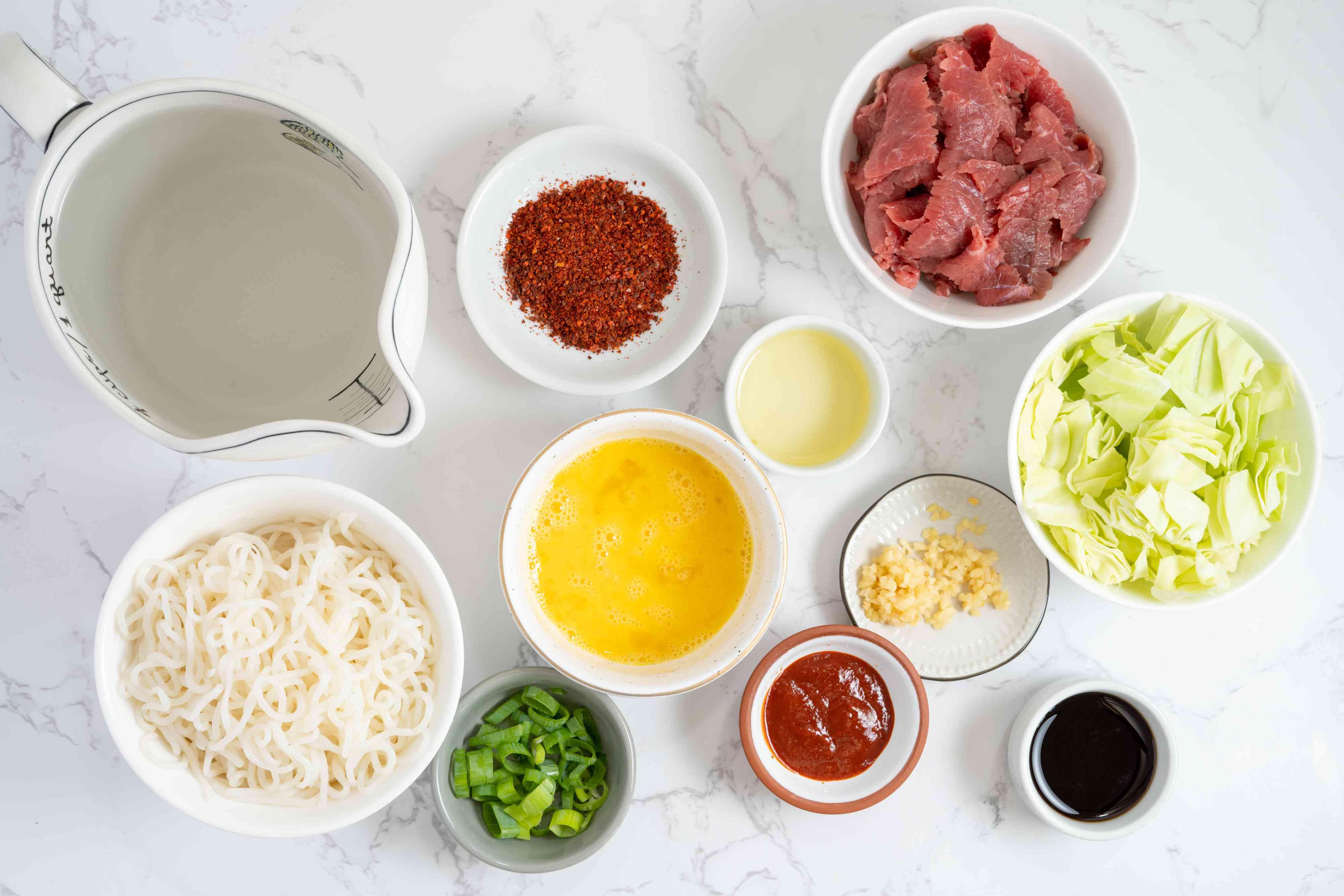 Korean Spicy Noodle Soup Recipe ingredients