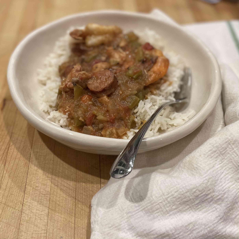Crockpot Chicken, Sausage, and Shrimp Gumbo Tester Image