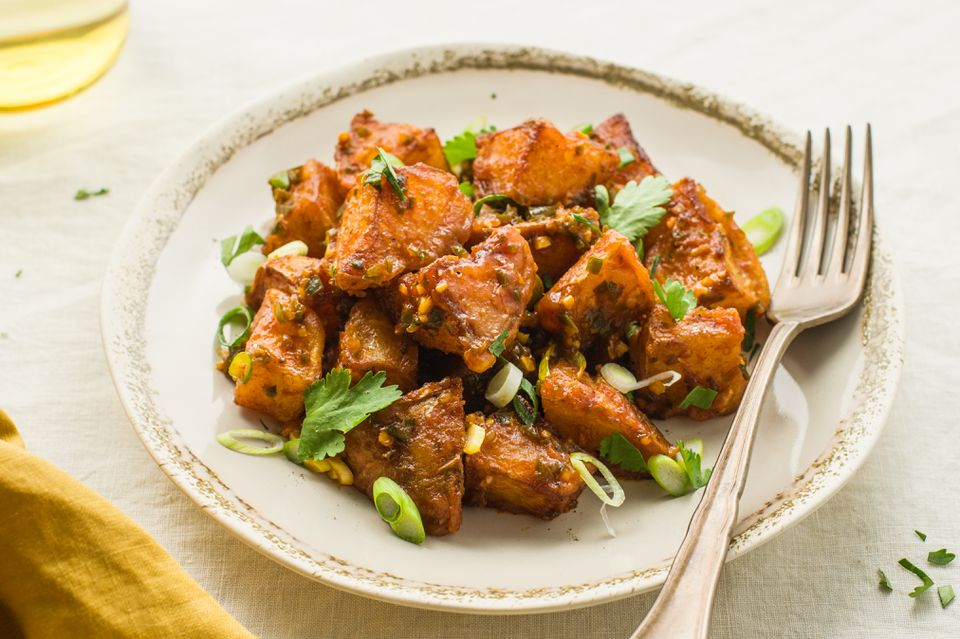 Serve spicy Indian bombay potatoes