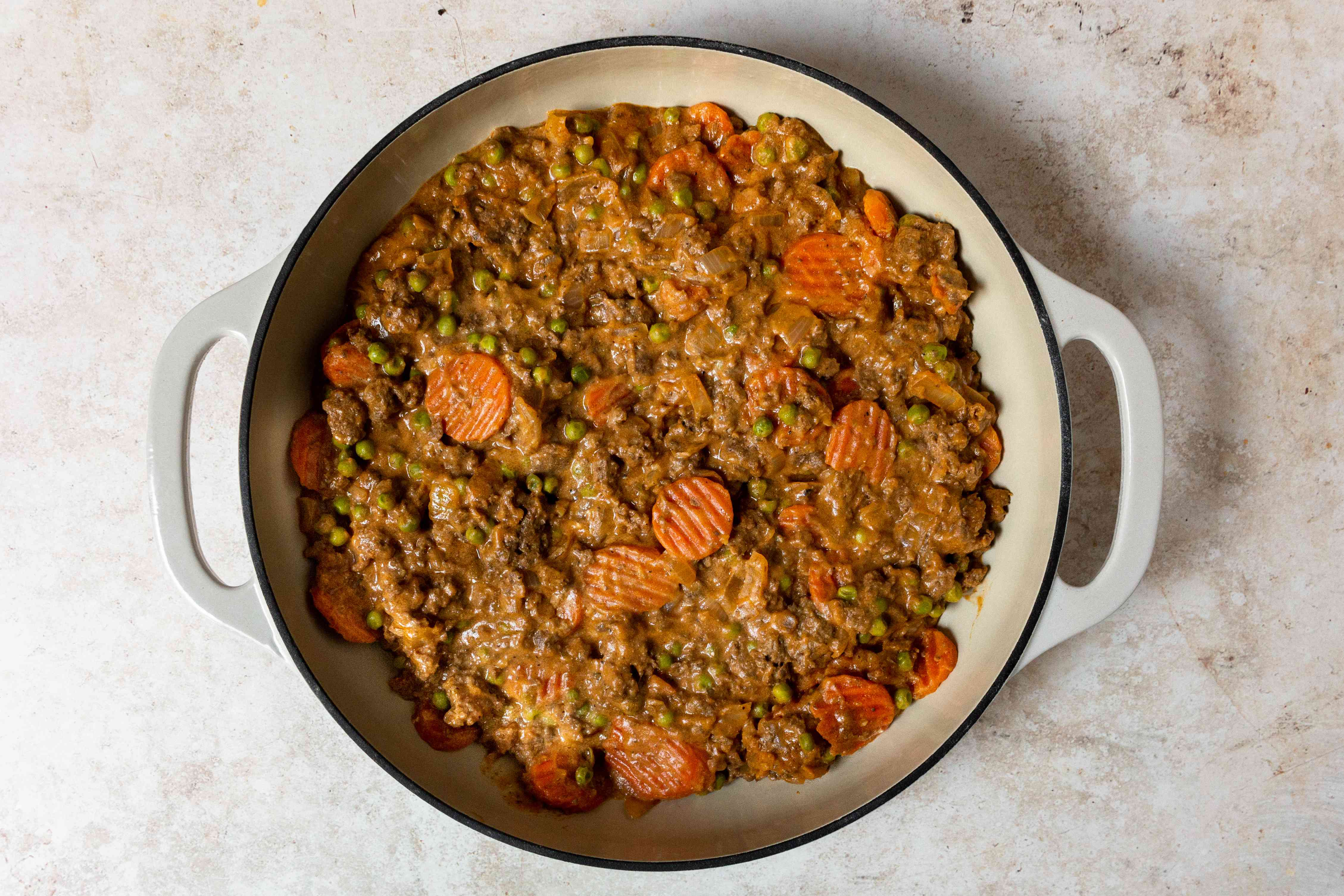 meat mixture in a pan