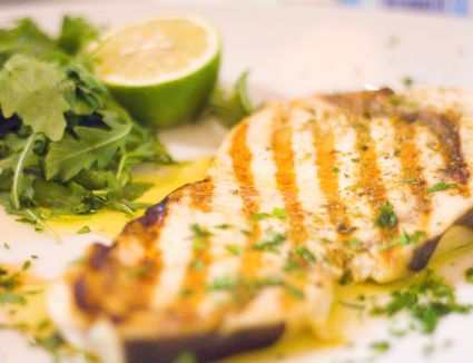 Close-Up Of Grilled Swordfish In Plate