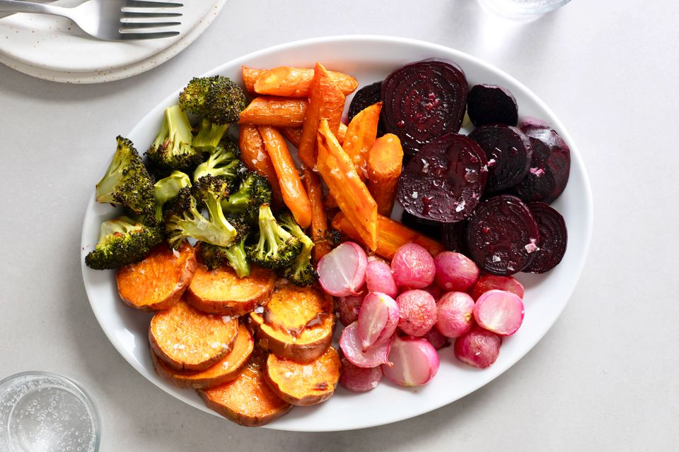 roasted vegetables on a serving platter